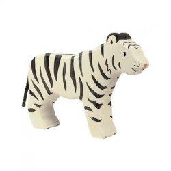 Figurita de madera Holztiger Tigre Blanco Siberiano