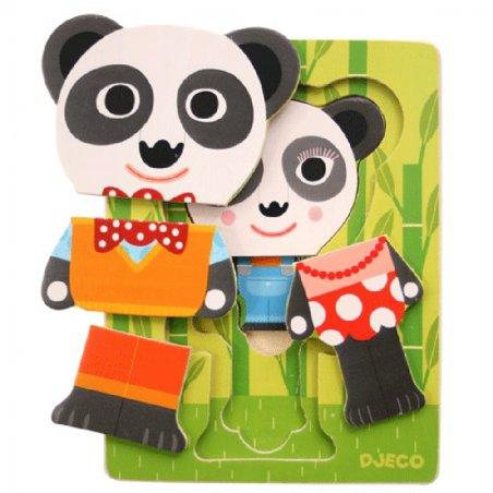 Puzzle de 3 niveles La Familia Panda