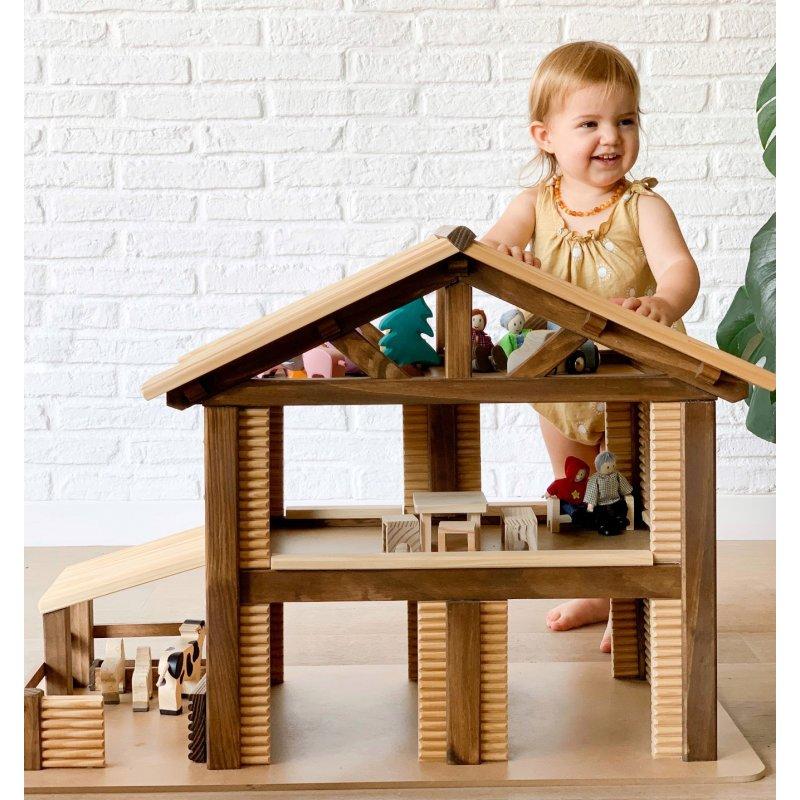 Gran casa de campo de madera de juguete