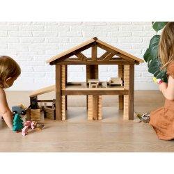 Gran casa de campo de juguete de madera de pino