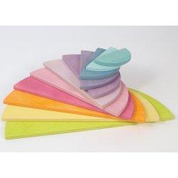 semicercules plans de fusta de colors pastel