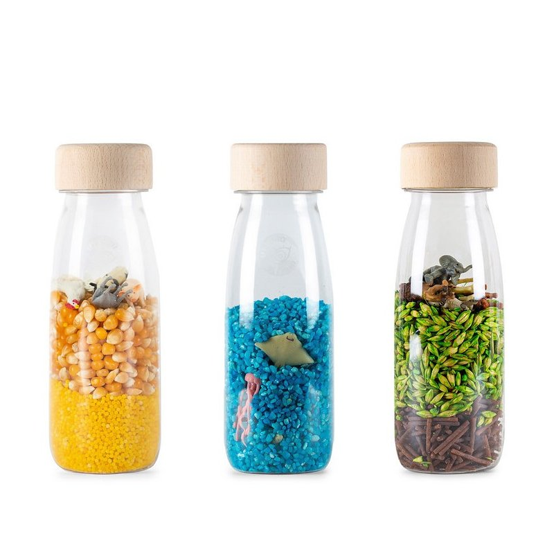 Pack de 3 botellas sensoriales nature de Petit Boum