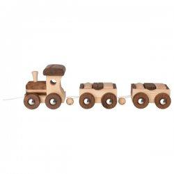 Tren de madera natural con bloques