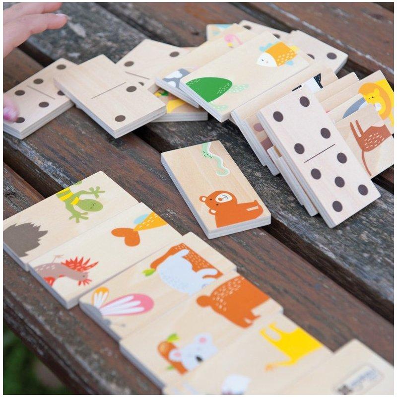 Puzzle de animales y domino de madera