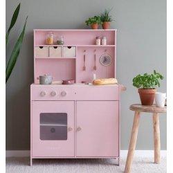 Cuineta de fusta rosa amb accesoris
