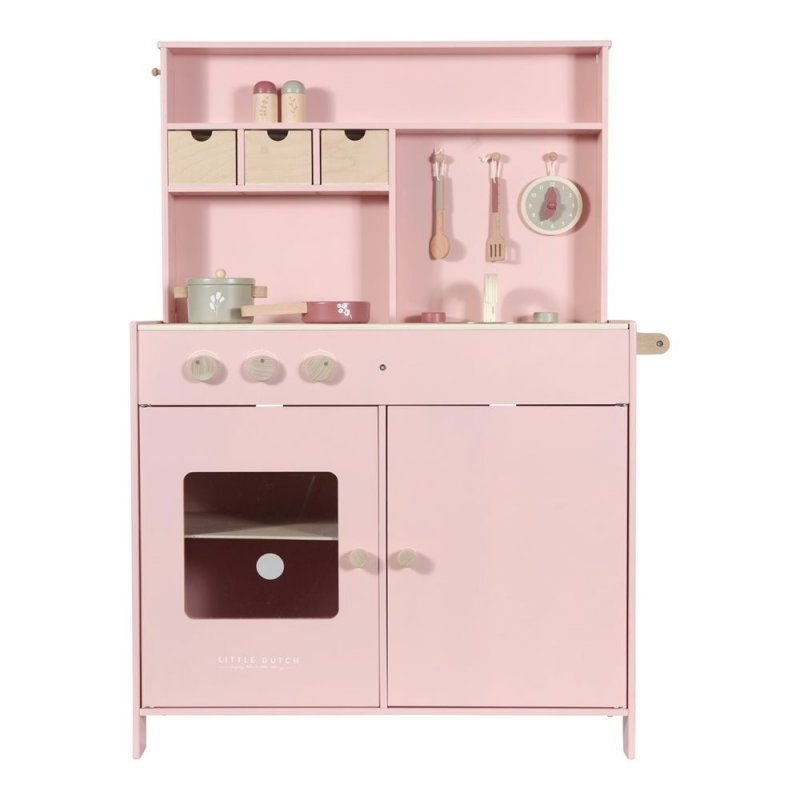 Cuineta de fusta rosa per infants