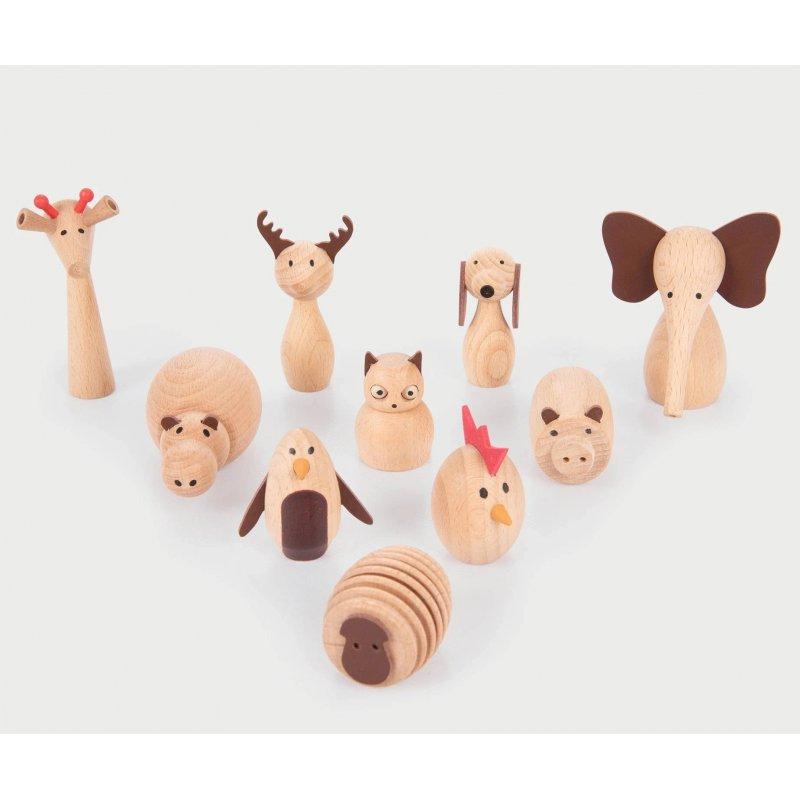 10 animals pegdoll de fusta de Tickit