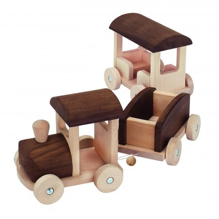 Tren articulado de madera natural