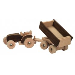 Tractor con remolque madera natural
