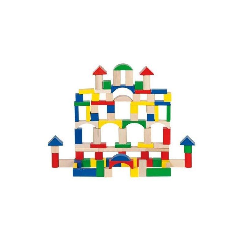Juego de 100 piezas de construcción de madera de colores