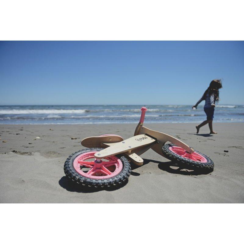 Bicicleta de fusta sense pedals Roda rosa
