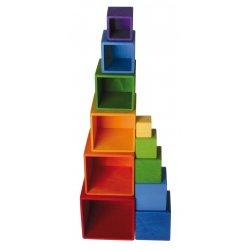 Cubos de madera encajables y apilables Arco iris de Grimm's