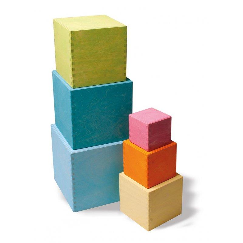 Cubos de madera para apilar color Pastel