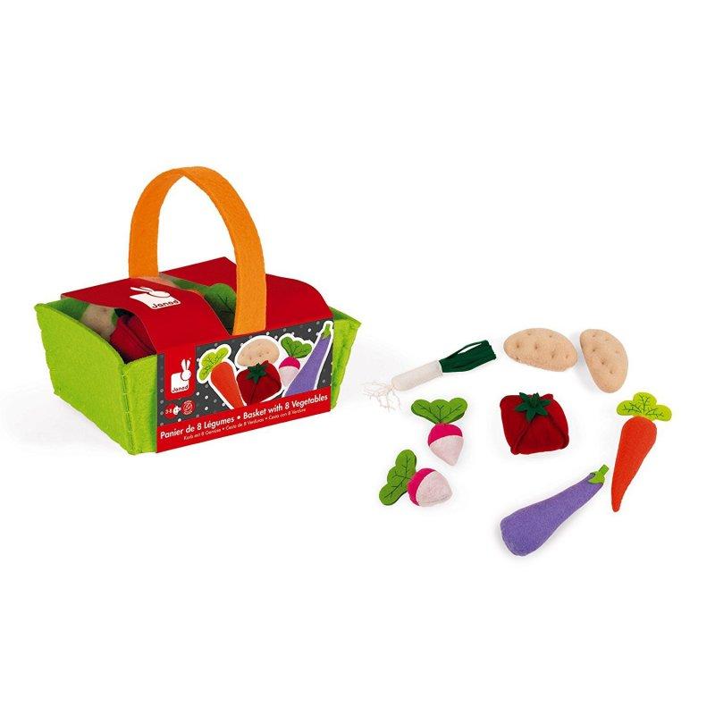 Cesta de verduras de juguete de fieltro