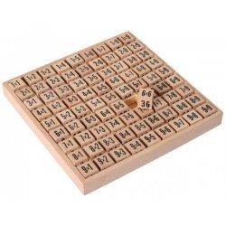 Taula de càlcul. taula de multiplicar de fusta.