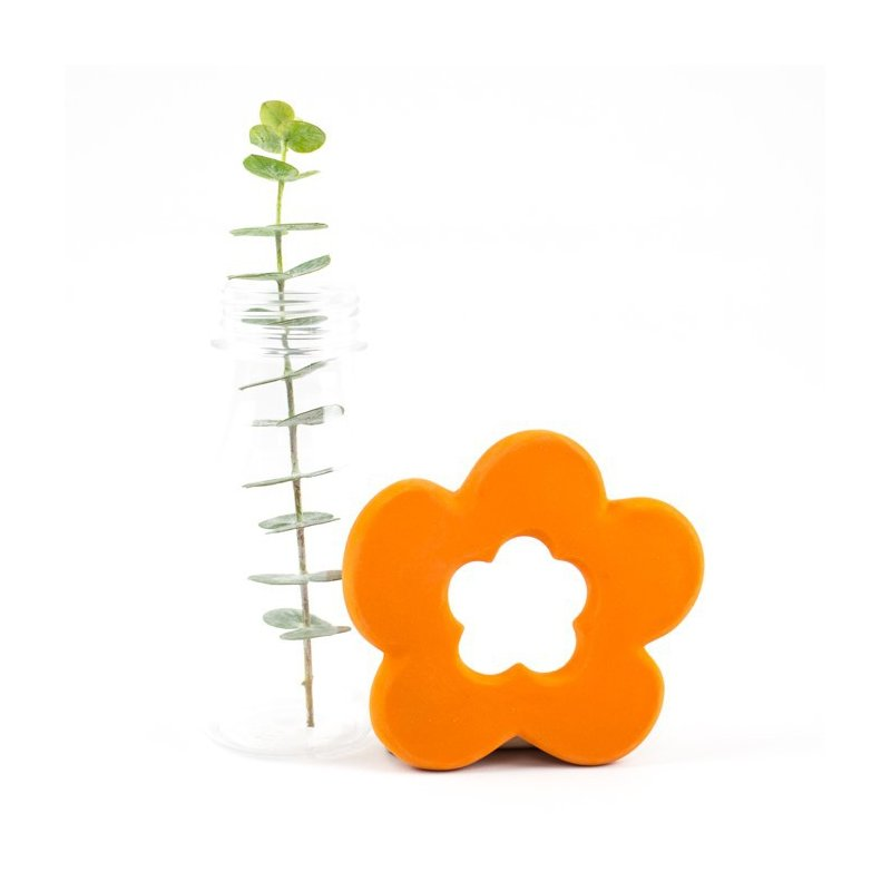 Mossegador Flor taronja. 100% Latex. Lanco Toys