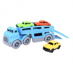 Trailer de juguete con 3 coches. De plástico reciclado. GreenToys