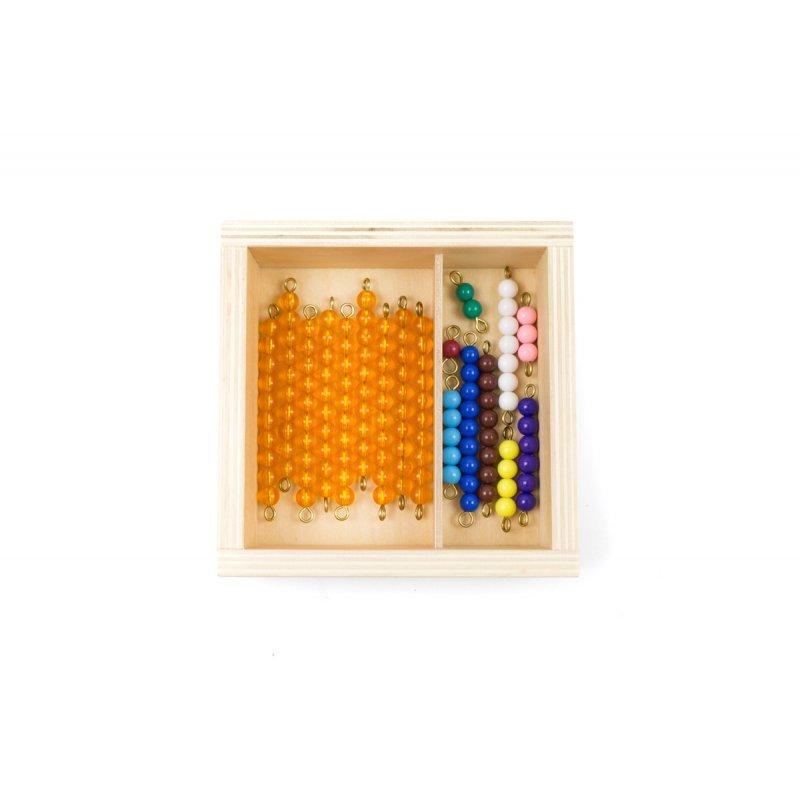 Caja de perlas montessori para matemáticas