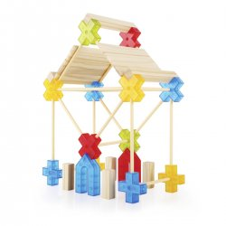 Texo, joc de construcció, que combina peces translúcides i de fusta.