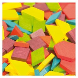 Peces geomètriques de colors per fer tangrams. Mideer
