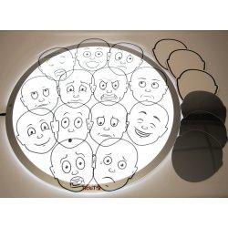 Caras de emociones transparentes para mesa de luz