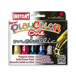 Playcolor One Metallic 6 colors, témpera sòlida en colors metàl.lics per a nens.