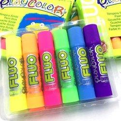 Playcolor One Fluo 6 colores fluorescentes de témpera sólida en para niños.