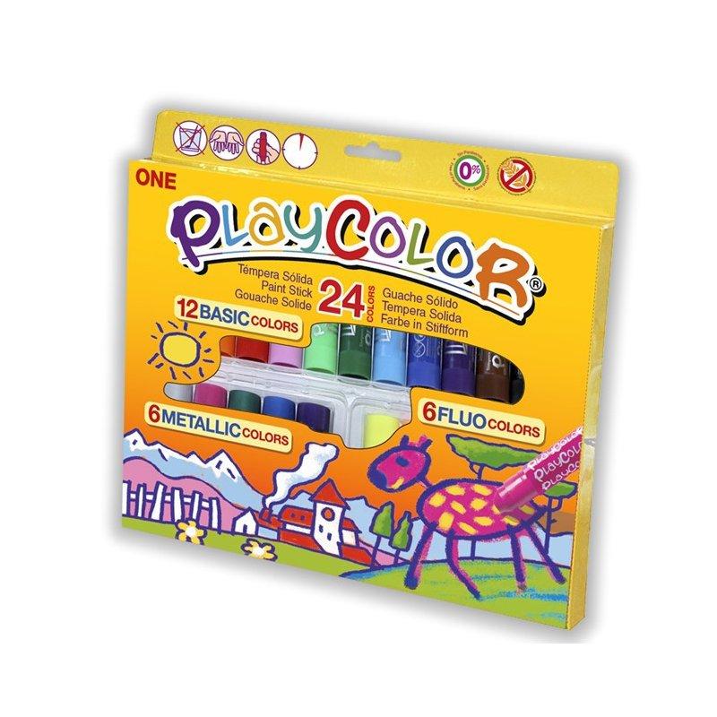 Playcolor One 24 colors témpera sòlida: bàsics, metàl·lics i fluorescents. Per a nens.