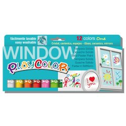 Playcolor Window 12 colors de témpera sòlida per a nens. Finestres, miralls, rajoles,...