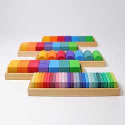 70 bloques de formas y colores arco iris